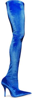 Velvet Thigh Boots - Blue