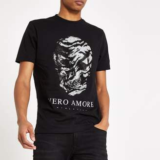 Mens Black diamante skull slim fit T-shirt