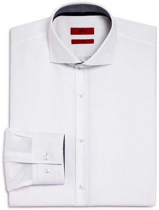 HUGO Jery Solid with Geometric Detail Slim Fit Dress Shirt $125 thestylecure.com