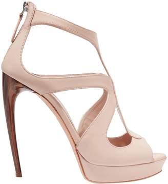 Alexander McQueen Cutout Leather Platform Sandals