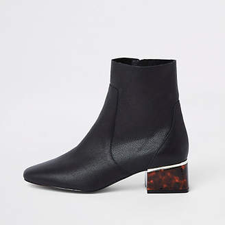 River Island Black leather tortoise shell block heel boots