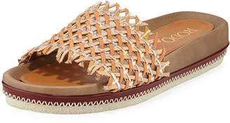 Rodo Woven Leather Slide Sandals