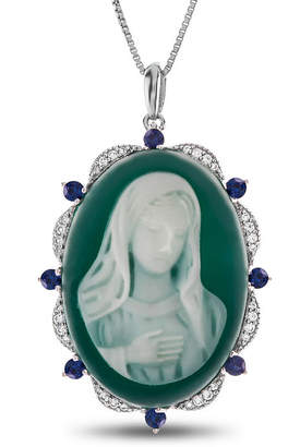 FINE JEWELRY Womens Green Agate Sterling Silver Pendant Necklace