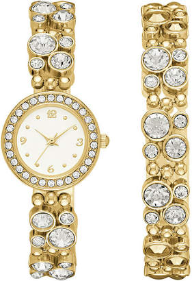 GENEVA Geneva Womens Gold-Tone Glitz Watch Boxed Set