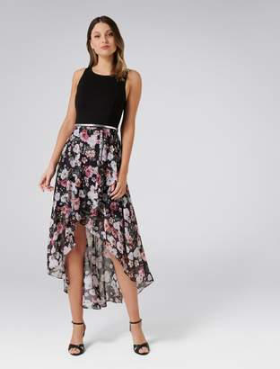 Forever New Danielle High-Low Dress - Black Floral Print - 4