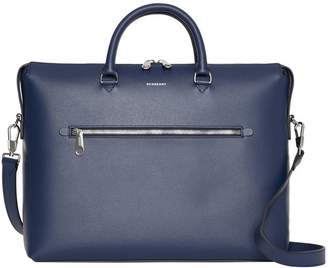 Large Textured Leather Briefcase
