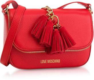 Love Moschino Red Grainy Leather Tassels Shoulder Bag