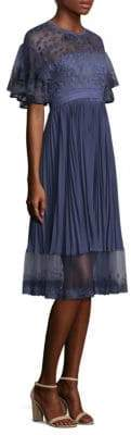 Three floor City Scape Pleat Illusion Dress