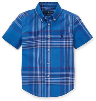 Ralph Lauren Short-Sleeve Collared Plaid Shirt, Size 5-7