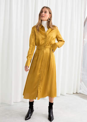 And other stories Belted Satin Midi Dress