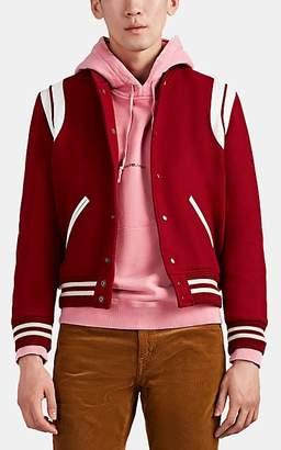 Saint Laurent Men's Leather-Trimmed Virgin Wool Bomber Jacket - White