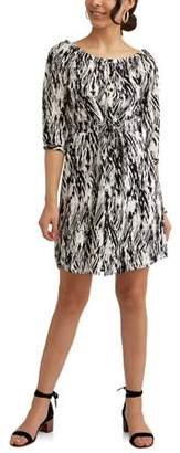 Millenium Women's Printed Cinched Waist Shirt Dress