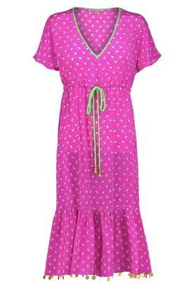 Libelula Violet Dress Hot Pink Palm Tree Print