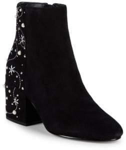 Sam Edelman Taft Embroidered Pearl Stud Ankle Boots