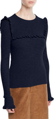 See by Chloe Crewneck Fitted Ribbed Alpaca-Blend Sweater w/ Ruffled Trim