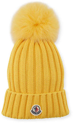 462e933afb8 Moncler Berretto Knit Hat w  Fur Pompom