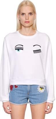 Chiara Ferragni Flirting Embroidered Cotton Sweatshirt