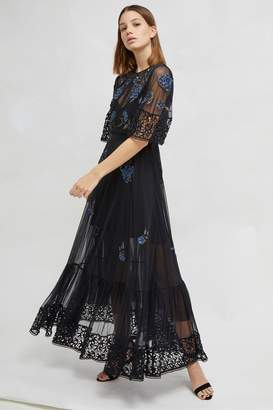 French Connenction Ambre Embroidered Floral Dress