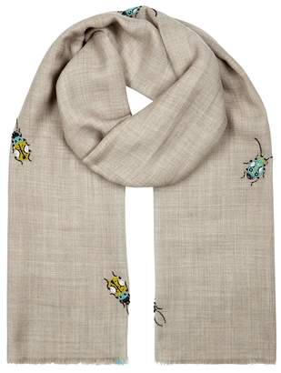 Janavi Tribal Bug Beaded Wool And Silk-blend Scarf
