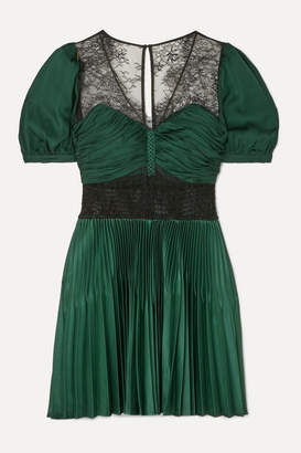 Self-Portrait Lace-paneled Pleated Crepe Mini Dress - Forest green