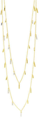 Freida Rothman 14k Long Cubic Zirconia Droplet Station Necklace