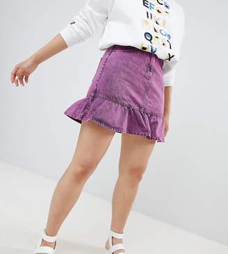 Monki Acid Wash Ruffle Denim Skirt