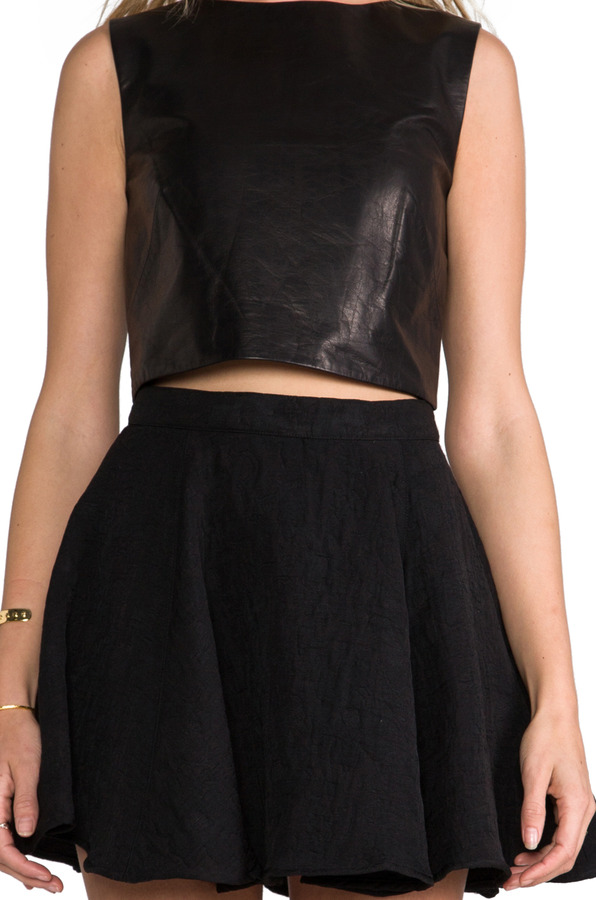 Tibi Leather Cropped Top