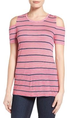 Women's Michael Michael Kors Stripe Cold Shoulder Tee $40.50 thestylecure.com