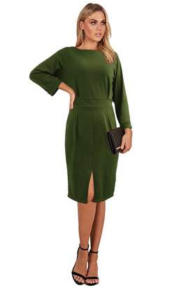 Longwu Women's Elegant Long Sleeve Open Back Front Slit Pencil Dress with Zipper -L