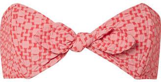 Lisa Marie Fernandez Poppy Two-tone Seersucker Bikini Top - Red