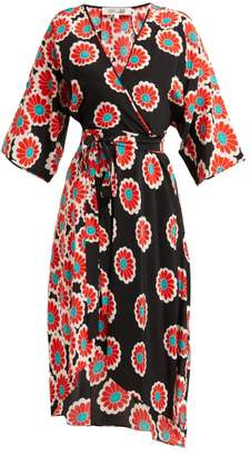 Diane von Furstenberg Eloise Blossom Print Silk Charmeuse Wrap Dress - Womens - Black Red