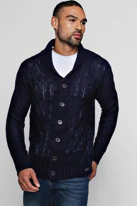 boohoo Shawl Collar Cable Knit Cardigan