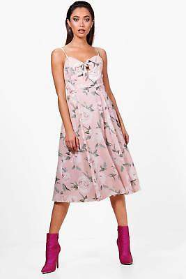 boohoo NEW Womens Boutique Knot Front Floral Midi Dress in Polyester