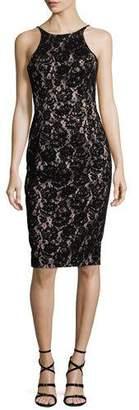 Black Halo Montego Velvet Lace Sheath Dress