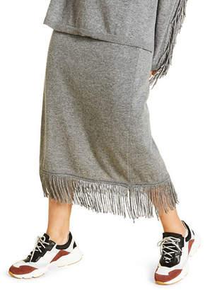 Marina Rinaldi Plus Size Knitted Skirt with Fringed Hem