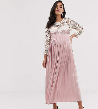 Little Mistress Maternity floral lace applique 3/4 sleeve midi skater dress with pleated skirt
