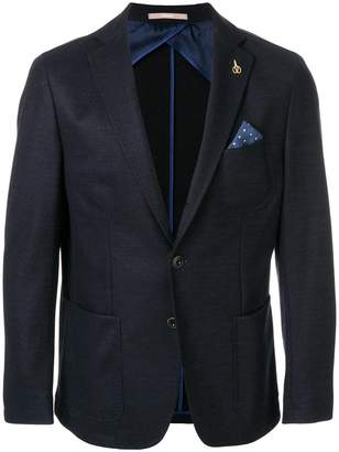 Paoloni fitted blazer with pocket square