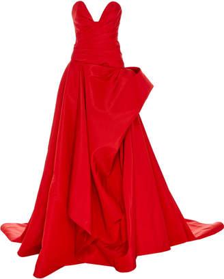 Oscar de la Renta Strapless Sweetheart Draped Gown