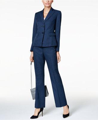 Le Suit Two-Button Navy Pinstripe Pantsuit $200 thestylecure.com