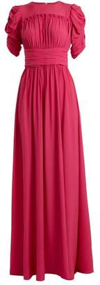 No.21 No. 21 - Ruched Sleeve Frill Trimmed Crepe Gown - Womens - Pink