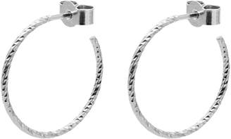 Myia Bonner Silver Medium Diamond Hoop Earrings