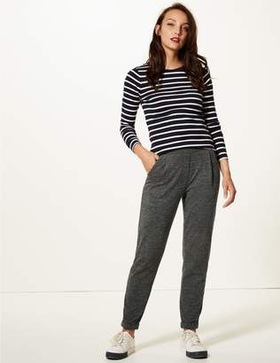 Marks and Spencer Textured Jersey Tapered Leg Peg Trousers