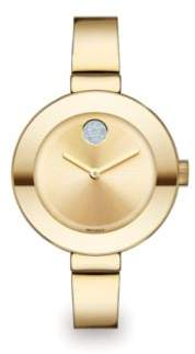 Movado Bold Crystal& Goldtone IP Stainless Steel Bangle Bracelet Watch/34MM