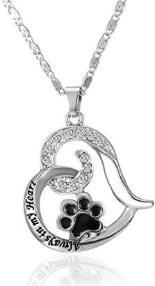 VWH Paw Print Heart Shaped Pet Lover Pendant Necklace Pet Memorial Jewelry Always in My Heart Dog Cat foot