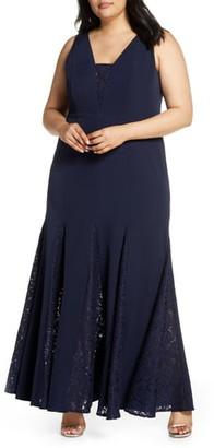 Eliza J Lace Inset Laguna Crepe Trumpet Gown