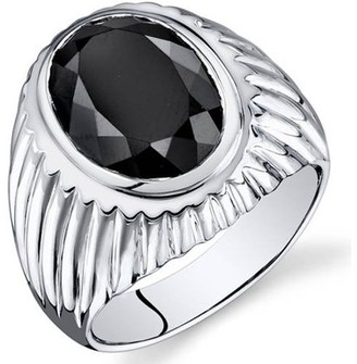 Oravo 7.00 Carat T.G.W. Men's Black Onyx Rhodium-Plated Sterling Silver Engagement Ring