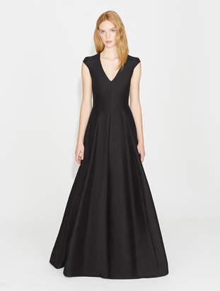 Halston Cap Sleeve V Neck Silk Faille Gown