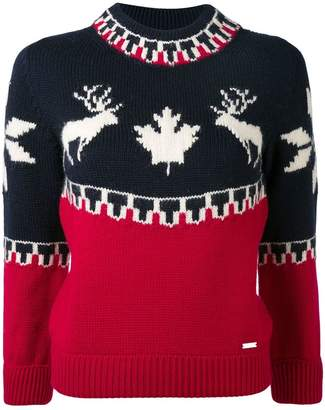 DSQUARED2 fairisle reindeer intarsia sweater