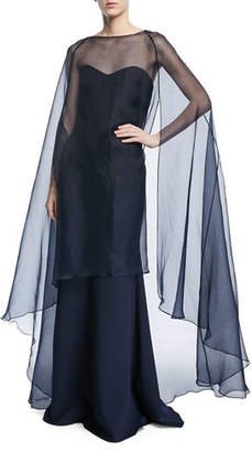 Badgley Mischka Strapless Gown w/ Organza Overlay Cape