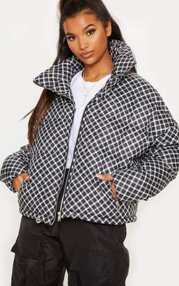 PrettyLittleThing Black Checked Puffer